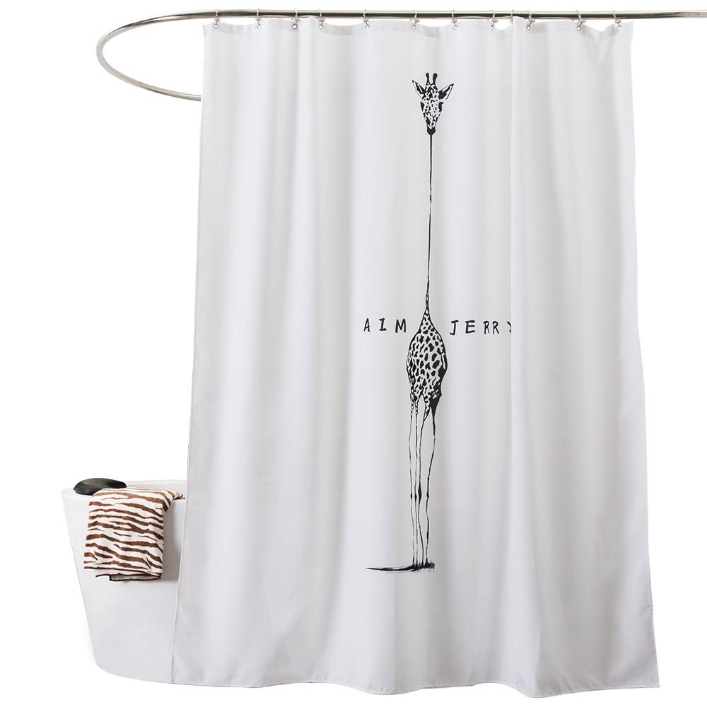Aliexpress.com : Buy Long Neck Giraffe Shower Curtain Black/white ...