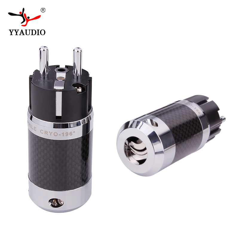 YYAUDIO Rhodium plated EU Schuko power plug Carbon Fiber HiFi Plug connectors Adapter P50 black