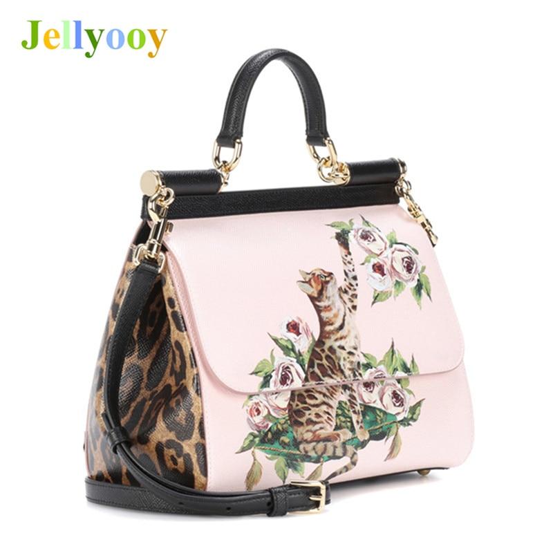 Genuine Leather Women Shoulder Bag Elegant Unique Design Cat Ptint Bag Princess Luxury Platinum Handbags Peekaboo Women Tote Bag elegant pu leather and hasp design women s tote bag