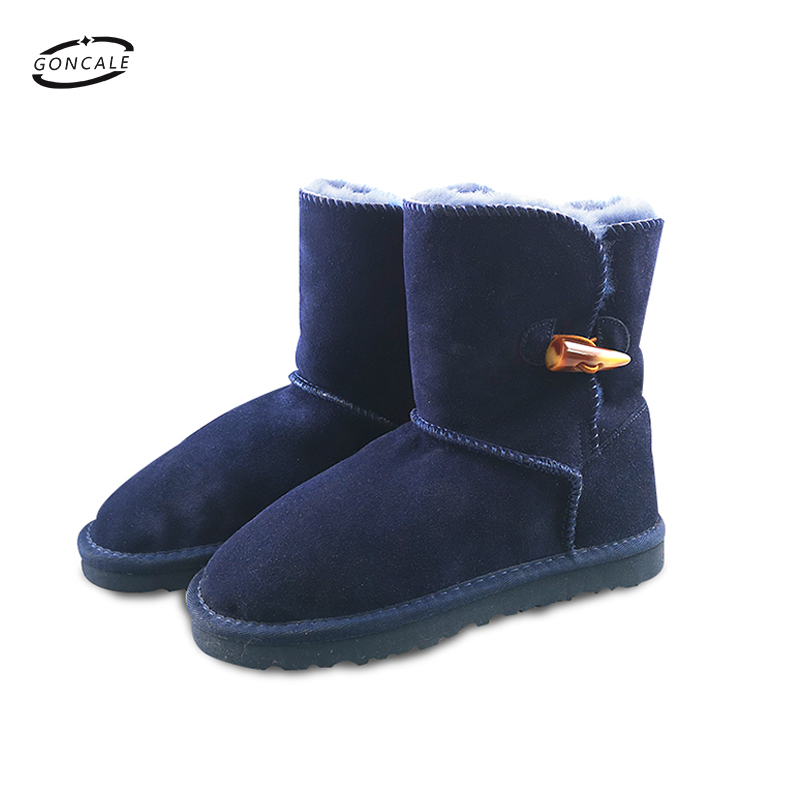 2018 Fashion New Arrival 100% Real Fur Classic Mujer Botas Waterproof Genuine Cowhide Leather Snow Boots Winter Shoes for Women pinsen winter boots women new arrival fashion brand female snow boots classic mujer botas waterproof boots for women size 35 41
