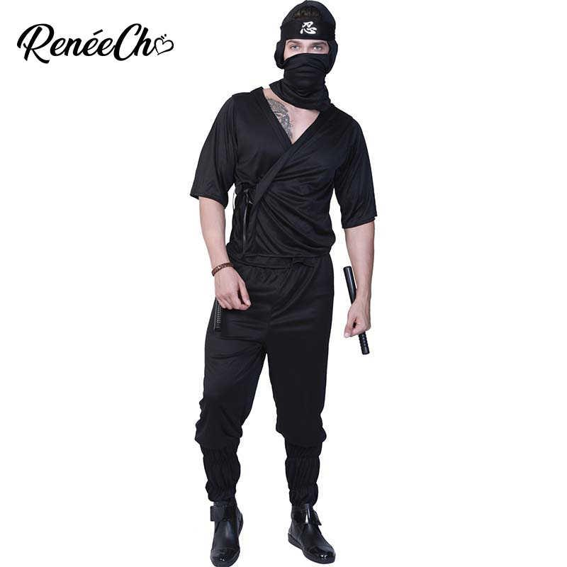 Ninja Halloween Costume Men.Reneecho Halloween Costume For Men Adult Stealth Shinobi Ninja Costume Killer Assassin Cosplay Fantasia Adulto Halloween
