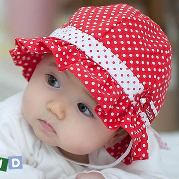 Sweet Heart Kids Toddlers Baby Girls Sun Hat Polka Dot Flower Bucket Cap Bowknot Pearl Cotton Baby Hat