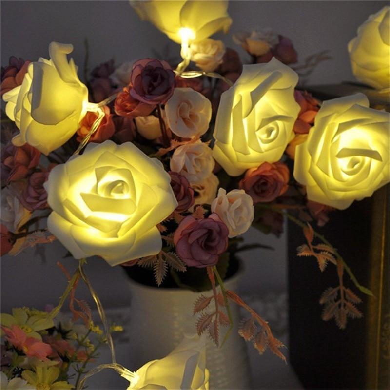Events and Parties 3M 20Leds Rose LED String Light Battery Wedding Birthday Decoration Lights White Rose LED Guirlande Lumineuse