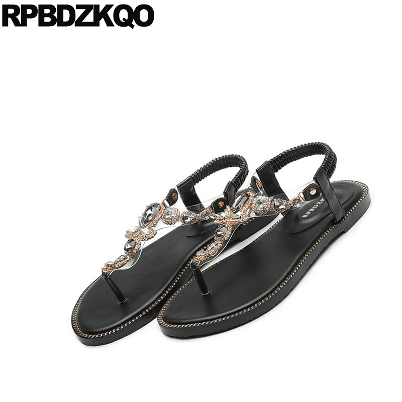 c6422e780a3871 Transparent Shoes Sandals Leisure Fashion Bohemia Style Women Cheap  Rhinestone Pvc Jewel Thong Crystal Diamond Beach Flat Black-in Women s  Sandals from ...