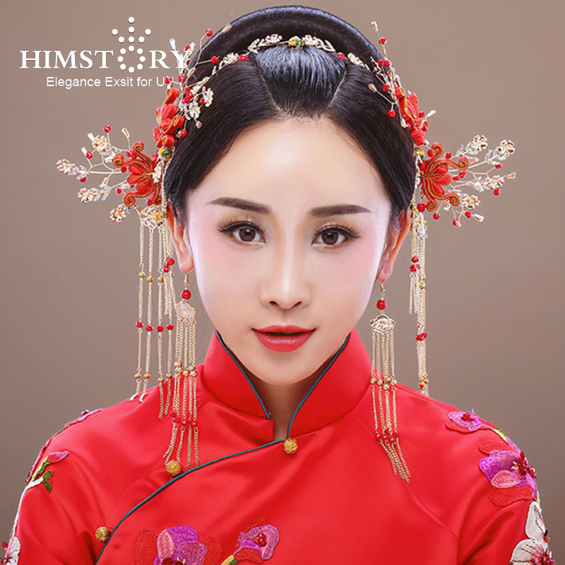 Himstory Chinese Traditional Gold Red Bridal Headdress Hair Jewelry Handmade Long Tassel Flower Headband Hair Pins Headwear