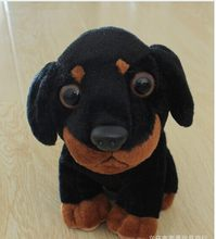 10 pieces a lot lovely small black dog toy cute stuff dog doll gift about 20cm(China)