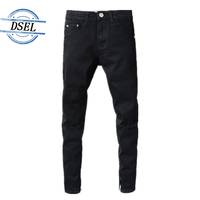 Strong Stretch Black Jeans Leg Length Ripped Knee Skinny Jeans Men Brand Clothing Men`s Selvedge Zipper Moto Biker Jeans E2001