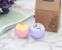 2X120g Organic Bath Bombs Dried Flower Petals Round Sea Salt Moisturizing  Lavender Rose Handmade SPA Christmas Gifts Salts