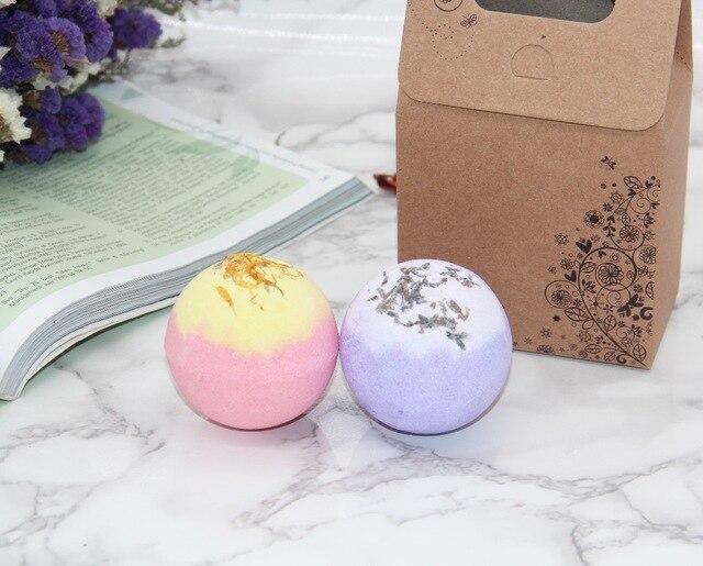 2X120g Organic Bath Bombs Dried Flower Petals Round Sea Salt Moisturizing Lavender Rose Handmade SPA Christmas Gifts Bath Salts