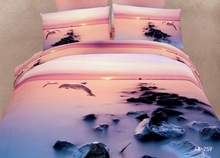 4 Pieces Per Set Lovely Dolphin Under Sunrise with Fog  Luxury Digital Printing Bedding Sets