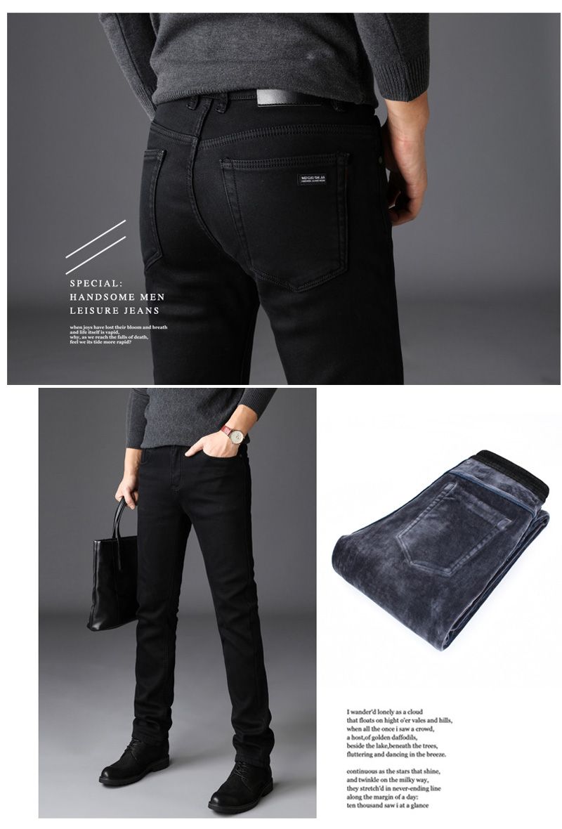 2020 New Trousers Grey Fleece Men Clothes  Black Elasticity Warm Thinker Winter Jeans Busines With Or No Velvet 2 Model Jeans 26