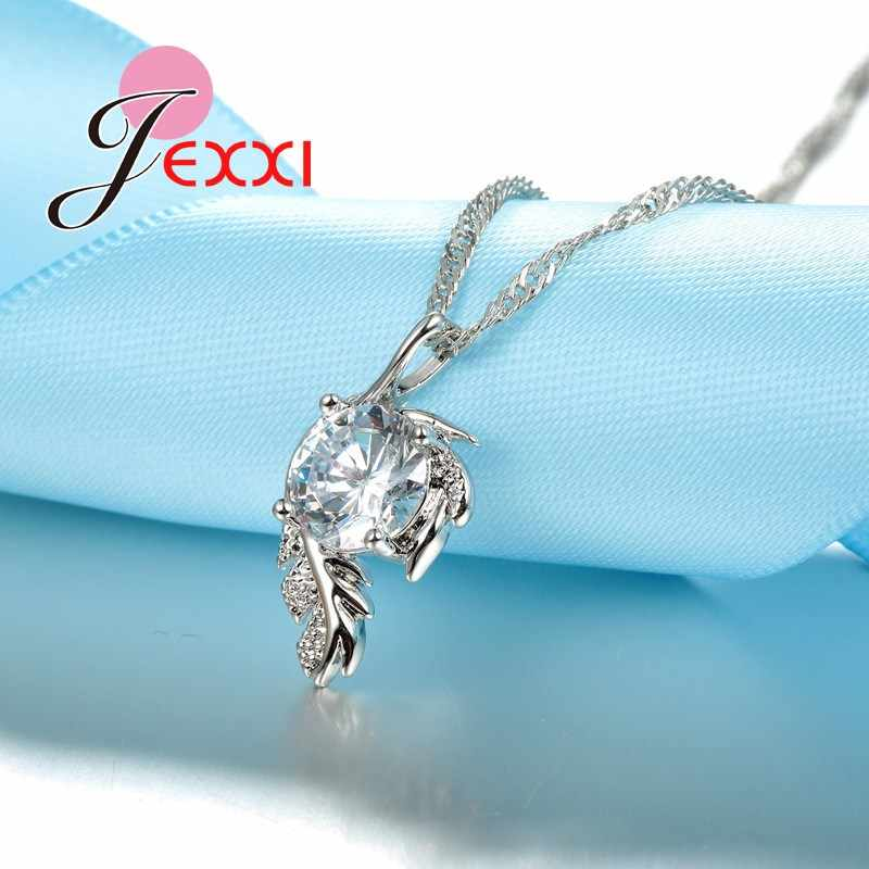 Trendy CZ Crystal Leaves Feather Design Pendant Necklace Jewelry For Women 925 Sterling Silver Best Party Bijoux Gifts