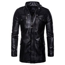 2019 Fall Black Gothic Plus Size 5XL Casual Men Jackets Slim PU Stand Collar Button Pocket Streetwear Overcoats Mens Coats