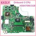 K43LY бортовой i3CPU HD6470/1GB Материнская плата для ноутбука ASUS X84HR K84HR K84LY X44H X84H HM65 DDR3 Материнская плата полностью проверена