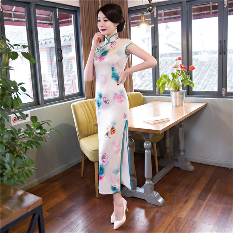 b1f543f0f New Women Novelty Print Traditional Chinese Dress New Arrival Satin Sexy  Long Qipao Female Vintage Flower Tight Cheongsam-in Cheongsams from Novelty  ...