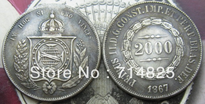 1867 БРАЗИЛИЯ 2000 Reis КОПИЯ
