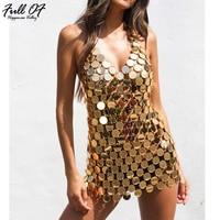 Sexy Metal body Chest chain Sequin dress women Bling Bandage Summer dress Beach bodycon vestido Luxury nightclub party dresses