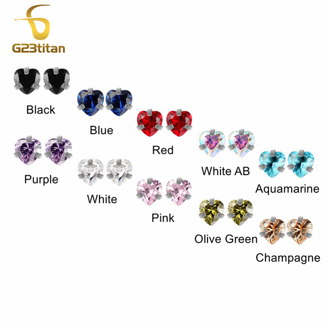 G23titan Body Piercing Ball 16G Internally Threaded Heart Style Lip Eyebrow Tongue Belly Navel Ring Body Jewelry Piercing Parts 2