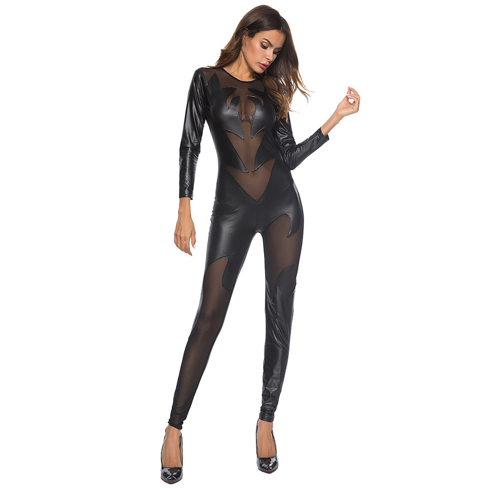 2020 Fashion Women's Sexy Jumpsuit Leather Zipper Hollow Pajamas Hot sale