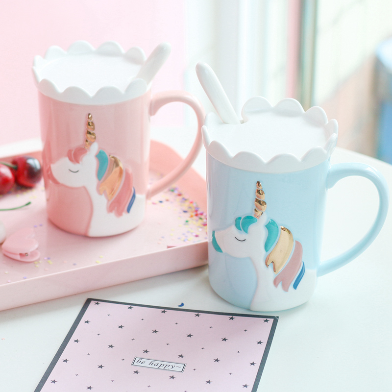 2018 Creative 3D Relief Glod Unicorn Coffee Mug with Spoon and Crown Lid Drinking Coffee Tea Cup Creative Gift