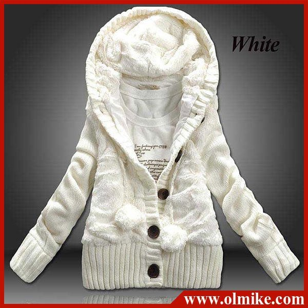 Promotional Free shipping 2012 new women's Korean winter thick hooded cardigan sweater coat (One size Gray Pink White)WCC002