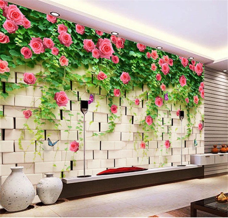 Modern 3D View Briar Rose And Brick Photo Wallpaper Wall