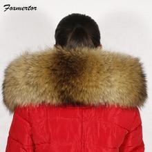 Зимний женский шарф с воротником из натурального меха енота, Foxmertor,, роскошный бренд, женские шарфы, пальто, меховая парка, Однотонный женский шарф# F260