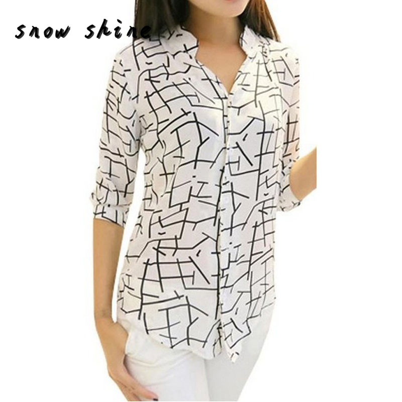 snowshine YLI New Womens Elegant Long-sleeve Print Chiffon Fashion Slim Blouses free shipping
