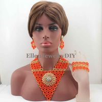 New Latest Fashion Orange Indian Bridal Women Jewelry Set Statement Indian Necklace Set for Wedding Free shipping W13512