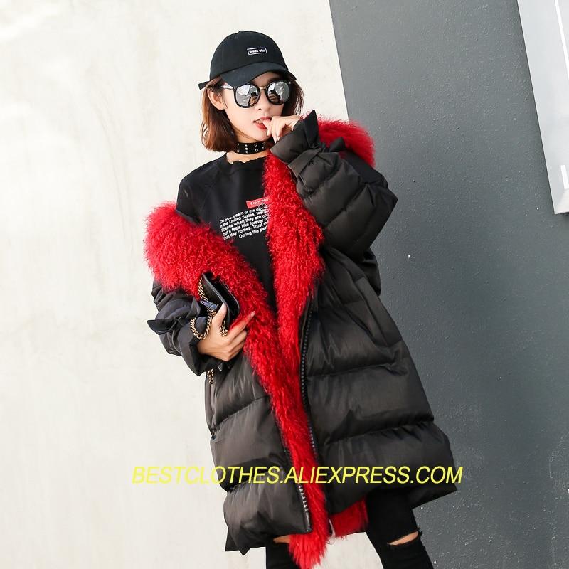 Larga Chaqueta Delgada Ropa Las Collar Moda Abrigo Black E16 Mujeres Fur Chaquetas  Invierno De Parkas ... 98e5c2c67f5