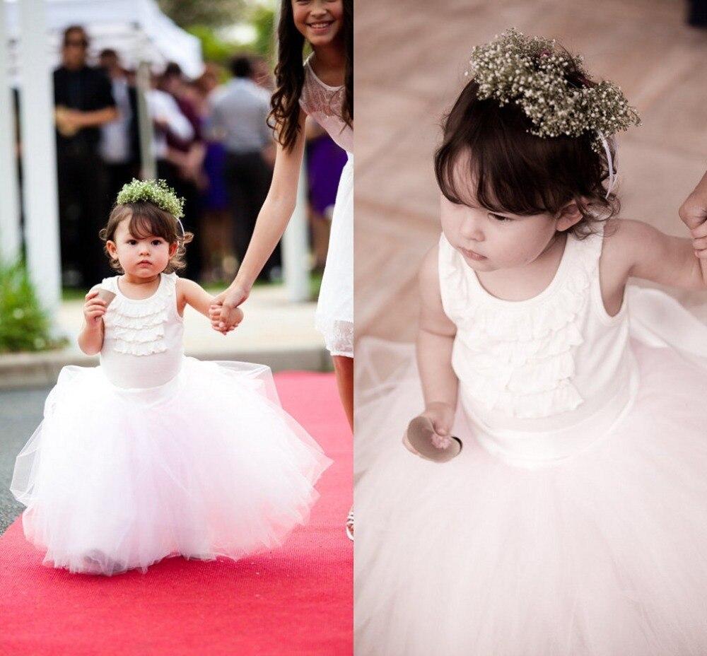 Simple Lovable White Flower Girl Dress Cute Sleeveless Floor Length ...