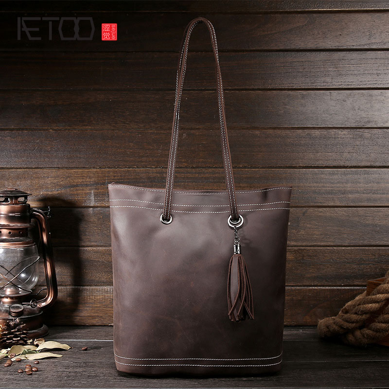 AETOO Women retro shoulder bag fashion handbags Europe and America shoulder bag head layer cowhide mad horse shopping bag коммутатор ubiquiti edgeswitch 16 150w управляемый 16 портов 10 100 1000mbps poe 2xsfp es 16 150w