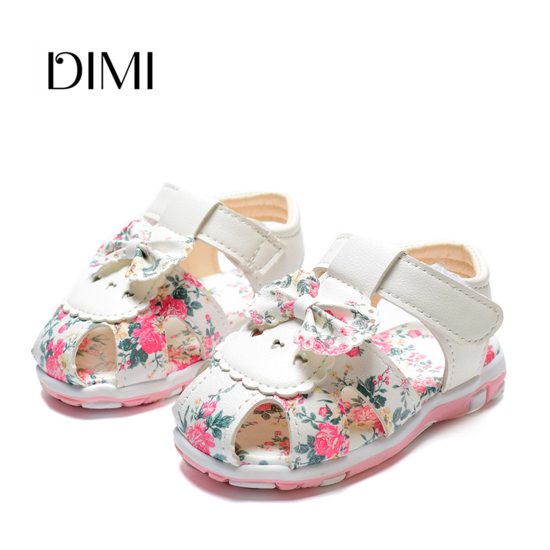 5e53cc4a3 2018 New Summer Children Shoes Toddler Baby Girls Sandals Princess Flower Bowtie  Shoes Leather Kids Sandals For Girls 21-25