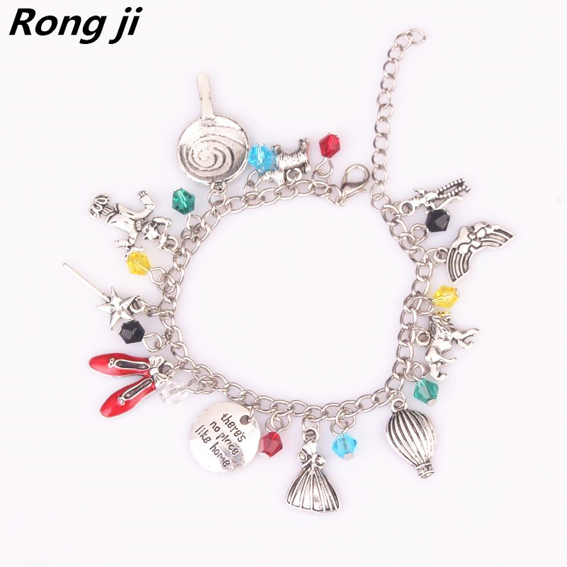 Rongji jewelry Wizard of Oz Inspired Red Shoes Star Umbrella Sculpture Charm Crystal Men a