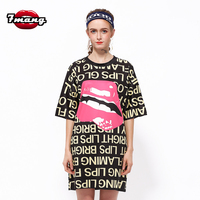 2017 New Women Street Loose Mouth Letter Printing T Shirt Short Sleeve Straight Fashion Casual Party