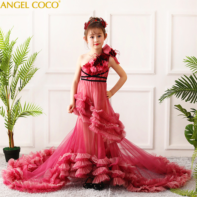 7930a050e95 Bean Red Formal Teenage Girls Party Dresses Evening Gown Children S Piano  T-Stage Show Birthday Outfit Costume Graduation Gowns