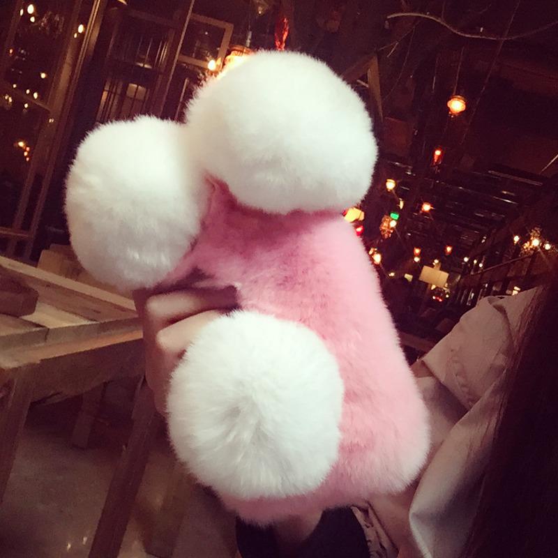 For HTC U11 Eyes Cover Case Luxury Cute Long Plush Rabbit Fur ball Cartoon Panda ear tail Soft Phone case - intl