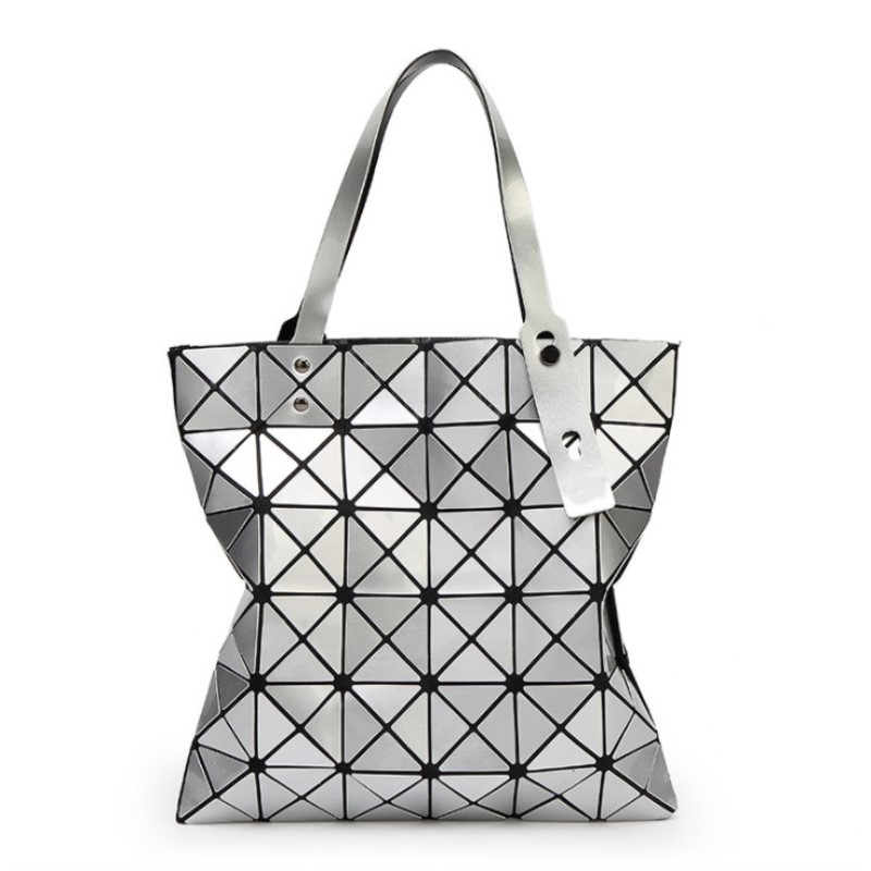 Image 2 - 2018 Hot Handbag Female Folded Ladies Geometric Plaid Bag Fashion Casual Tote Women Handbag Mochila Shoulder Bag-in Shoulder Bags from Luggage & Bags
