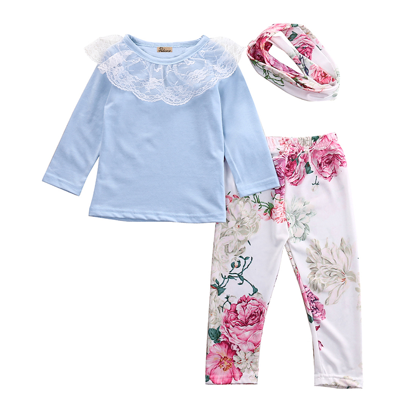 3pcs Toddler Baby Girls Children Clothing Sets Kids Girl O-Neck Lace Tops Long Sleeve T-shirt Floral Pants Clothes Outfit Set 2017 cute kids girl clothing set off shoulder lace white t shirt tops denim pant jeans 2pcs children clothes 2 7y