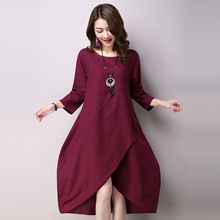 2016 new fashion summer dress plus size loose fresh cherry printdress one piece casual cotton linen dresses female 1022