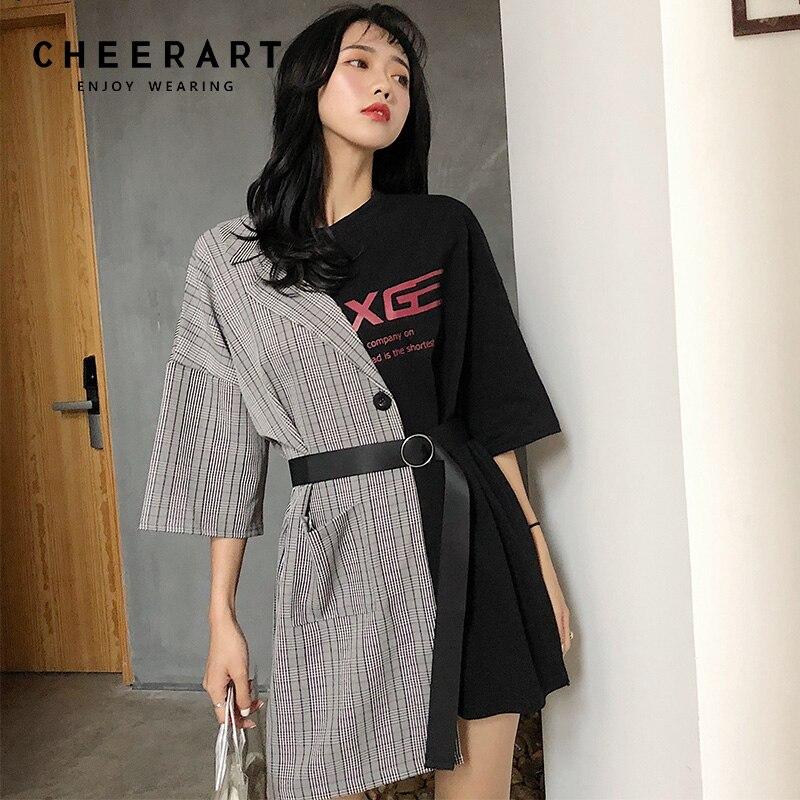 b5befd7fccfa ... Cheerart Streetwear Splice T Shirt Dress Women Summer Lace Up Fashion  Dress Letter Print Designer Mini ...