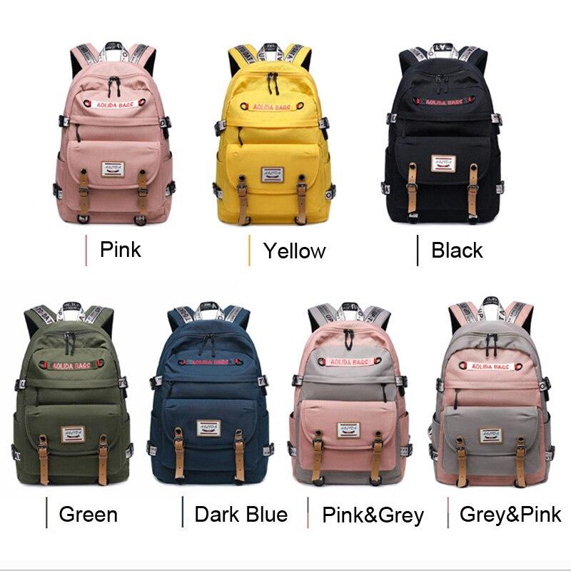 "Casual Daypack for  Men Women Backpack Solid Canvas School Bag for Teenage Girls Boys 14""15"" Laptop Bagpack Mochila - Black"