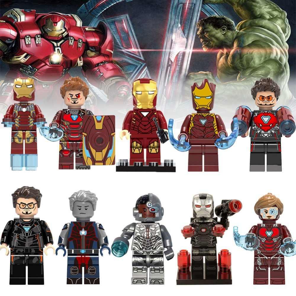 Marvel Мстители Endgame с эмблемами супергероев Железный человек Строительные блоки DIY Модель Кирпичи legoing playmobles Экшн фигурки игрушки подарки