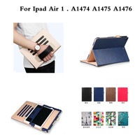 PU Leather Multiple Angles Folding Stand HandStrap Luxury Case Cover For Ipad Air1 A1474 A1475 A1476