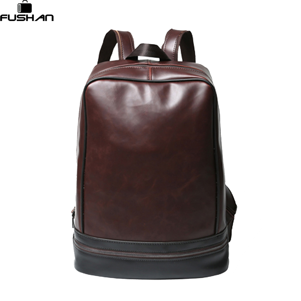 New Crazy horse Men font b Backpacks b font Black Leather Male Schoolbags For Teenagers Mochilas