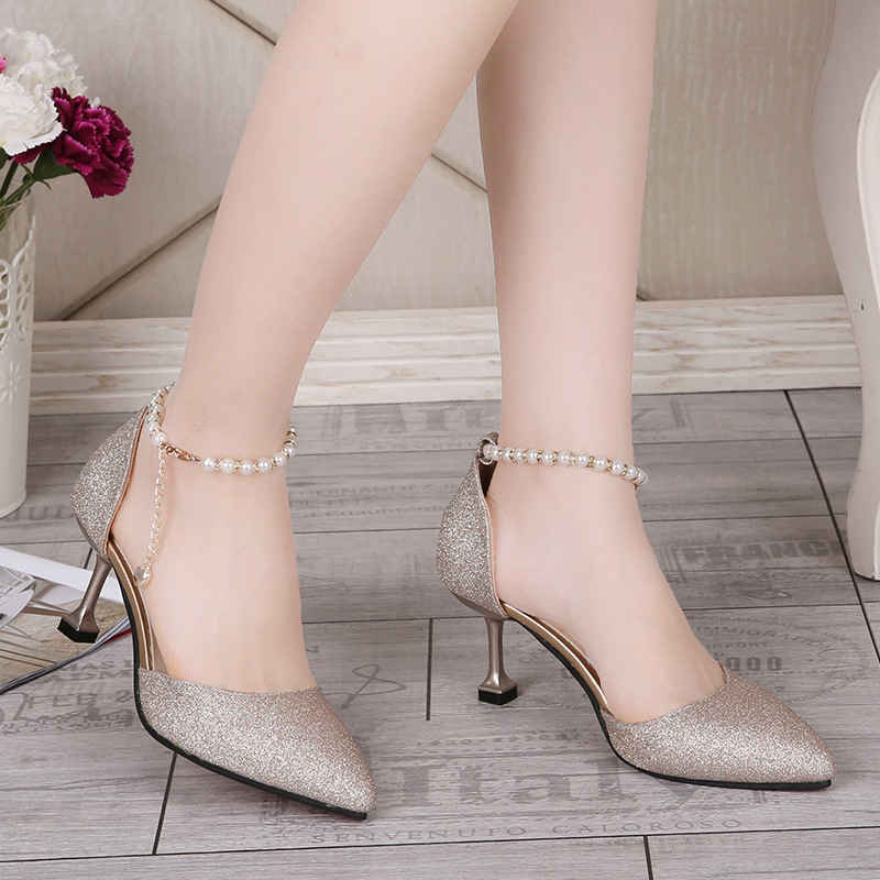 Summer Fashion Sexy High Heels Pumps Women Pointed Toe Pearl Buckle Strap Party Shoes Elegant Ladies Wedding Shoes Gold Silver quanzixuan women pumps sexy high heels bling women shoes fashion wedding shoes pointed toe stiletto gold party ladies shoes