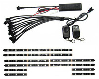 12V 10PCS RGB 5050SMD LED Car Motorcycle Glow Lights Flexible Neon Strips Kit Chopper Frame With