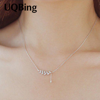 Drop Shipping 925 Sterling Silver Chain Necklaces Leaf Pendants Necklaces Jewelry Collar Colar De Plata