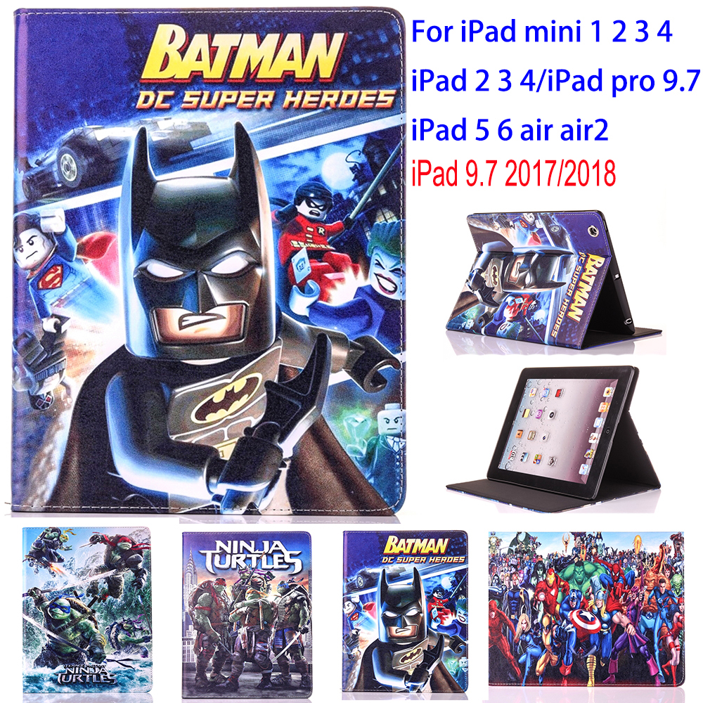 Tablet Case for Apple ipad 2 3 4 5 6 air air 2 ipad 9.7 2017 2018 ipad mini 1 2 3 ninja turtle protective Cover stand coque para for apple ipad mini 1 2 3 case grape patterns pu leather protective flip rotate tablet pc cover stand coque para housing