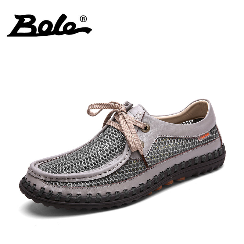 BOLE Summer New Mesh Causal Shoes Men Fashion Design Lace Up Woven Men Shoes Punching Breathable Wading Shoes Men Flat